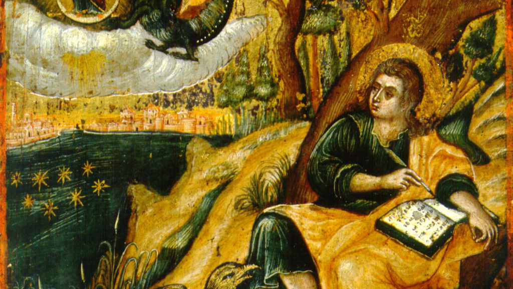St John the Theologian, writing the book of Revelation.