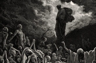 "Engraving of ""The Vision of The Valley of The Dry Bones"" by Gustave Doré"